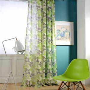 Voilage imprimé en lin vert fleur pour chambre à coucher rétro américain