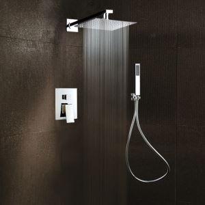 Colonne de douche avec robinetterie encasrtée cuivre chromé pour salle de bains