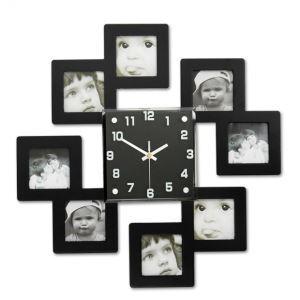 Horloge murale noir avec cadre de photo créative pour chambre