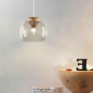 Suspension en verre engrenage bois design D 25 cm pour cuisine restaurant couloir LED ampoule incluse