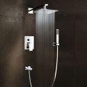 Colonne de douche encastrée chromé avec douchette pour salle de bains