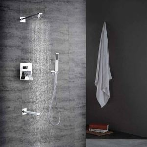 Robinet de douche avec douchette simple en cuivre chrome pour salle de bain