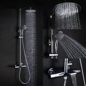 Robinet de douche en laiton chrome avec douchette pour salle de bain moderne
