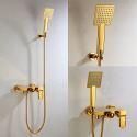 Colonne de douche encastrée avec douchette mitigeur D 12 cm Ti-PVD pour salle de bains