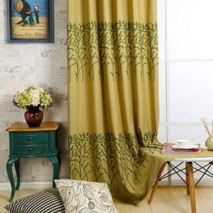 Rideau tamisant brodé en coton lin écologique jaune pour chambre à coucher rétro américain