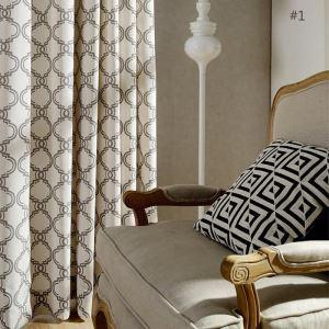 Rideau tamisant imprimé en coton écologique motif géométrique pour chambre à coucher simple