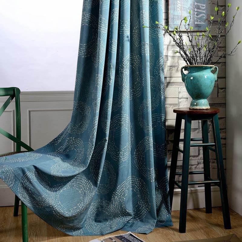 Rideau tamisant imprimé en coton polyester cercle bleu canard pour chambre  à coucher rétro américain