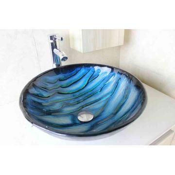 Vasque à poser verre trempé D 42 cm rond bleu pour salle de bain