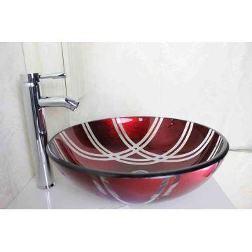 Vasque à poser verre trempé D 42 cm mode rond rouge pour salle de bain