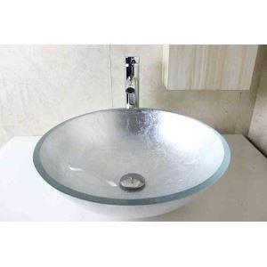 Vasque à poser verre trempé D 42 cm mode rond argent pour salle de bain