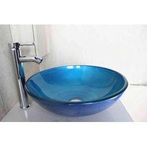 Lavabo en verre trempé D 42 cm rond bleu clair vasque pour salle de bains toilettes