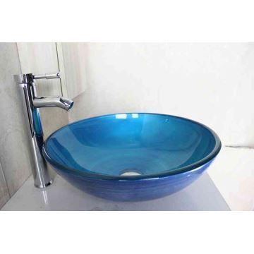 Lavabo en verre trempé D 42 cm rond bleu clair vasque pour salle de ...