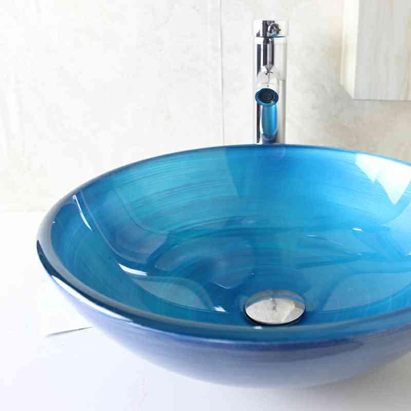 Lavabo en verre trempé D 42 cm rond bleu clair vasque pour ...