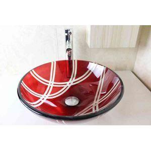 Vasque à poser verre trempé D 42 cm rond rouge pour salle de bain