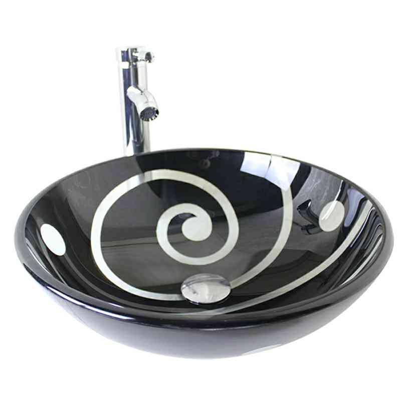 Vasque à poser verre trempé D 42 cm rond noir pour salle de bain