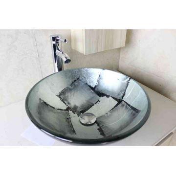 Vasque à poser verre trempé D 42 cm rond gris argenté pour salle de bain