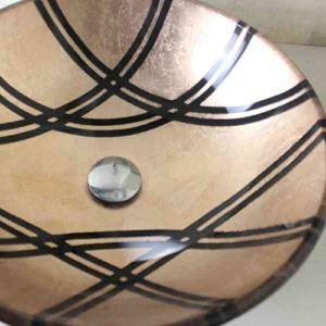 Vasque à poser verre trempé D 42 cm rond brun jaunâtre pour salle de bain