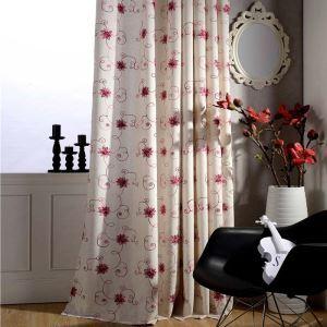 Rideau tamisant brodé rouge tige florifère en coton lin pour chambre à coucher simple américaine