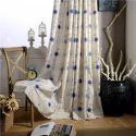Rideau tamisant brodé bleu tige florifère en coton lin pour chambre à coucher simple américaine