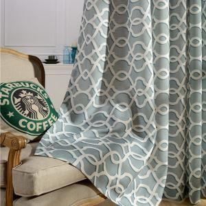 Rideau tamisant brodé en coton lin motif géométrique cyan pour chambre à coucher simple