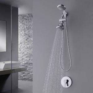 Colonne de douche encastrée avec douchette D 12 cm en cuivre chrome pour salle de bains