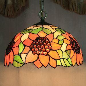Tiffany suspension à 2 lampes tournesol D40cm pour salle à manger