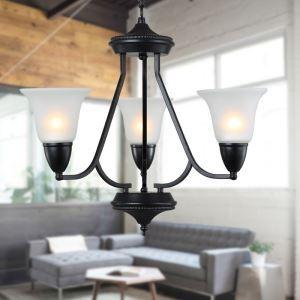 (Entrepôt UE) 3 Lampes 25 inch Plafonnier Lampe, Noir