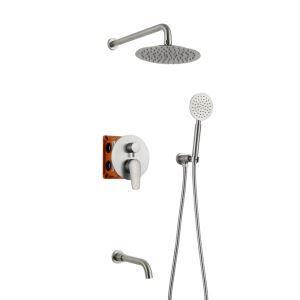 Colonne de douche encastrée avec douchette D 20 cm en acier inoxydable 304 brossé pour salle de bains