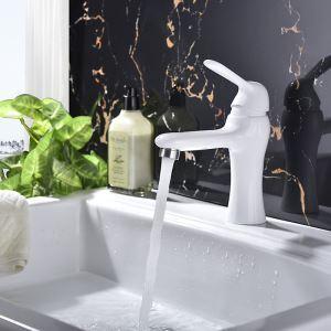 Robinet de lavabo blanc peinture de cuisson eau froide chaud pour salle de bain