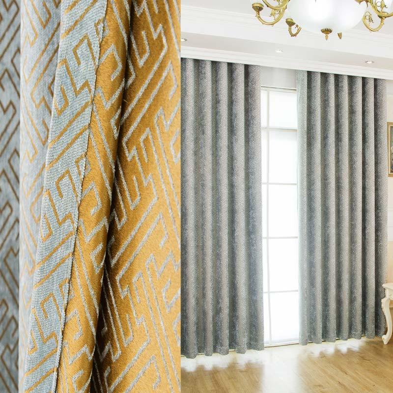 Rideau occultant jacquard en chenille bleu labyrinthe pour salon chambre à  coucher abstrait moderne