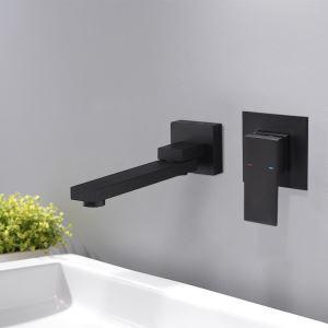 Robinet de lavabo noir montage mural peinture de cuisson eau froide chaud pour salle de bain