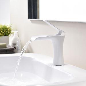 Robinet de lavabo blanc peinture de cuisson eau froide chaud pour salle de bain style antique