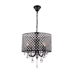 Lustre baroque cristal à 4 lumières D40cm en fer rétro noir pour salle chambre