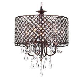 Lustre baroque cristal à 4 lumières D40cm en fer rétro pour salle chambre