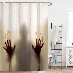 Rideau de douche impression empreinte de main avec sang d'horreur pour salle de bain imperméable anti-moisissure