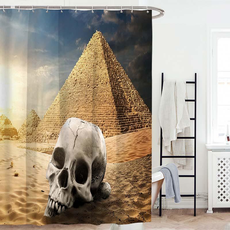 Rideau de douche impression t te de mort pour salle de - Anti moisissure salle de bain ...