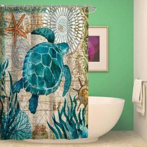 Afficher les détails pour Rideau de douche impression 3D hippocampe tortue marine pour salle de bain imperméable anti-moisissure