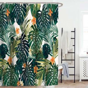 Rideau de douche impression feuille de bananier pour salle de bain imperméable anti-moisissure simple