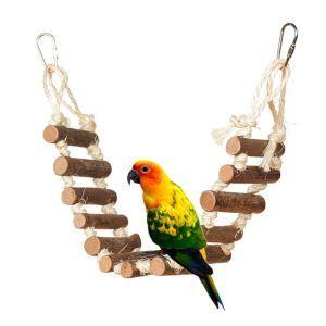 Echelle d'escalade pont-levis en bois pour perroquet