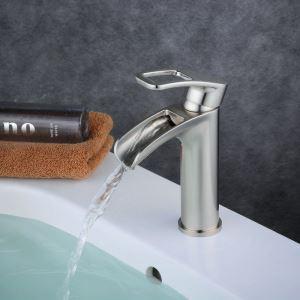 Robinet de lavabo acier inoxydable H18.3cm brossé pour salle de bain
