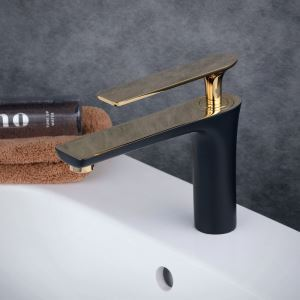 Robinet de lavabo laiton H18cm peinture de cuisson noir or pour salle de bain