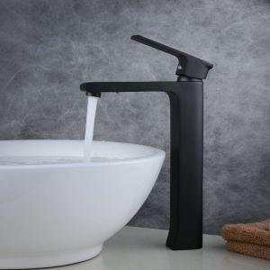 Robinet de lavabo laiton H29.8cm peinture de cuisson noir pour salle de bain