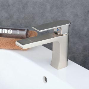 Robinet de lavabo acier inoxydable H17cm brossé pour salle de bain