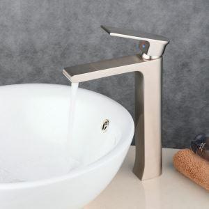 Robinet de lavabo acier inoxydable H29.8cm brossé pour salle de bain