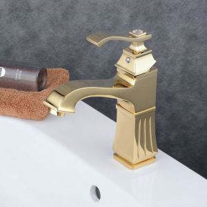 Robinet de lavabo laiton H22.5cm Ti-PVD pour salle de bain
