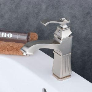Robinet de lavabo acier inoxydable H22.5cm brossé pour salle de bain