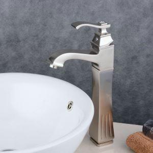 Robinet de lavabo acier inoxydable H35cm brossé pour salle de bain
