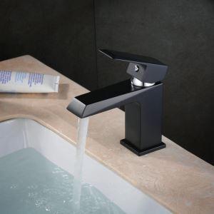 Robinet de lavabo laiton H14.5cm peinture de cuisson noir pour salle de bain