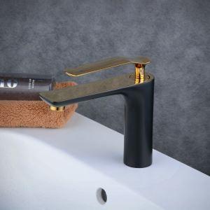 Robinet de lavabo laiton H11.2cm peinture de cuisson noir or pour salle de bain