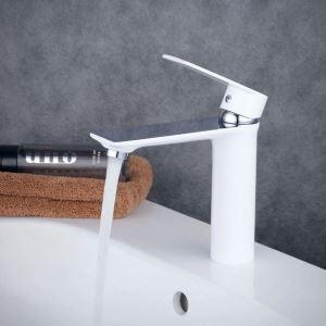 Robinet de lavabo laiton H15.5cm peinture de cuisson blanc pour salle de bain